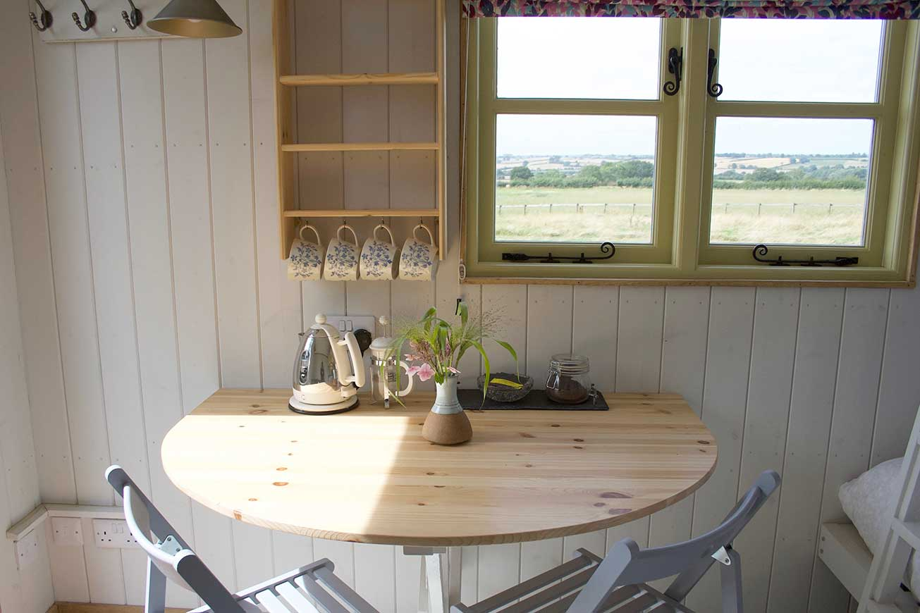 Shepherds Hut Corner Fold out Table - Hilltop Hideaways