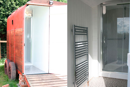 Horse Box Shower - Hilltop Hideaways